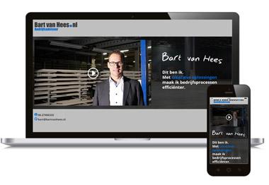 one-page website met video voor Bartvanhees.nl uit Mill