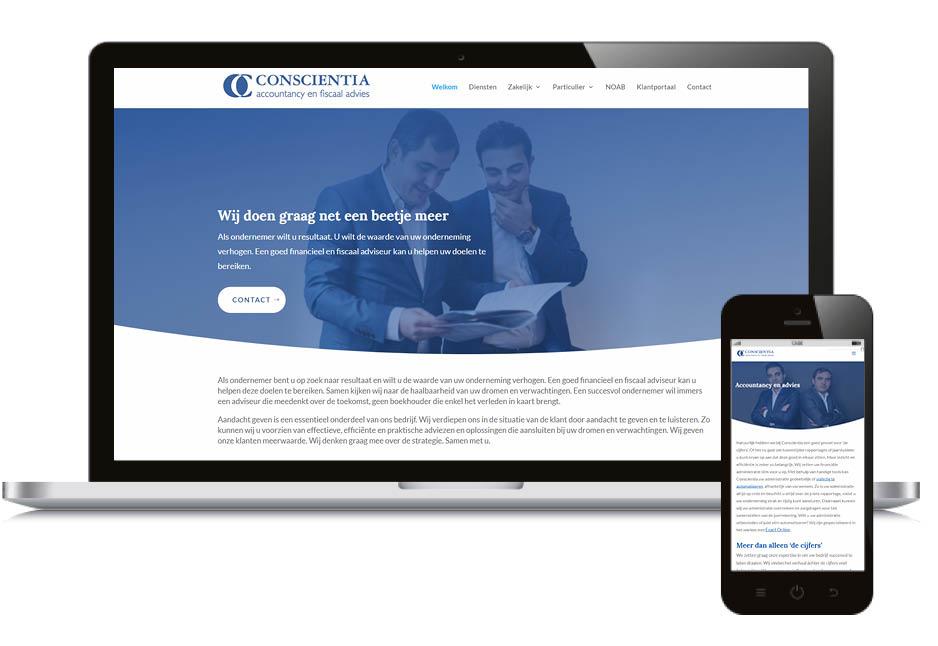 Website voor accountant Conscientia Utrecht fiscaal en boekhouding