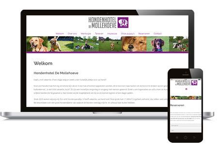 Website hondenhotel De Mollehoeve in Wilbertoord