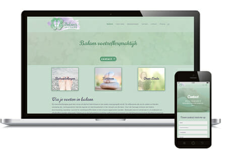 Opmaak Wordpress website voor Balans voetreflexpraktijk